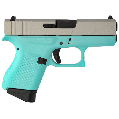 Glock 43 9mm Single Stack Pistol with Robins Egg Blue Cerakote Frame and Silver Slide