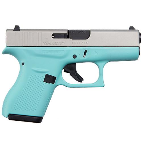 Glock 42 380 ACP Single Stack Pistol with Robbins Egg Blue Frame and Aluminum Cerakote Slide