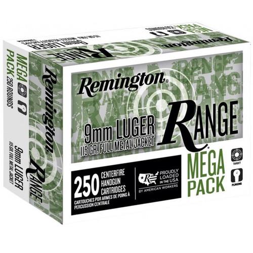 Remington Range 9 mm Luger Ammo 115 Grain Full Metal Jacket Mega Pack 250 Rounds