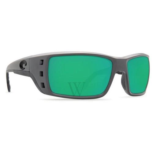 Costa Del Mar Permit 61.7 MM Green Mirror Matte Gray Sunglasses