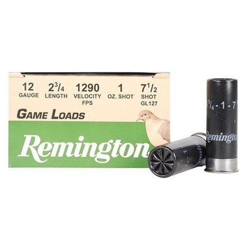 "Remington Game Loads 12 Gauge Ammunition 2-3/4"" Shell #7.5 Lead Shot 1oz 25 Rounds"