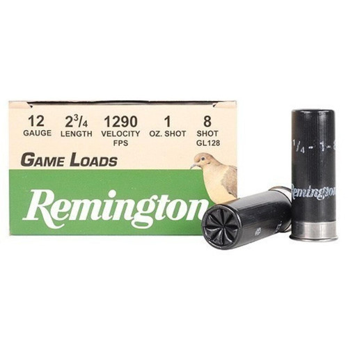 "Remington Game Load Ammunition 12 Gauge 2-3/4"" 1 oz #8 Shot 25 Rounds"