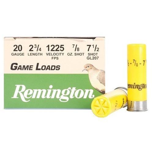 "Remington Game Load Ammunition 20 Gauge 2-3/4"" 7/8 oz #7-1/2 Shot 25 Rounds"