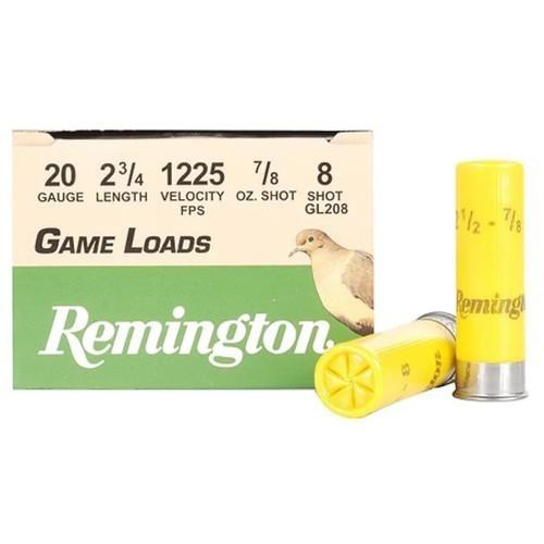 "Remington Game Load Ammunition 20 Gauge 2-3/4"" 7/8 oz #8 Shot 25 Rounds"