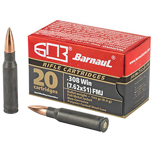 Barnaul Ammunition 308 Winchester 145Gr Full Metal Jacket Steel Polycoated Case 20 Rounds