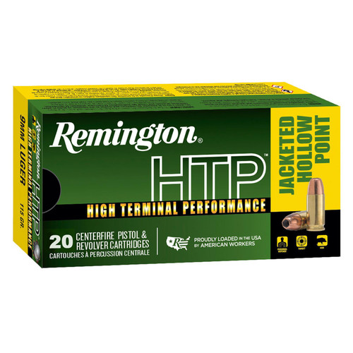 Remington HTP Handgun Ammuntion 9mm Luger 115GR JHP 20 Rounds