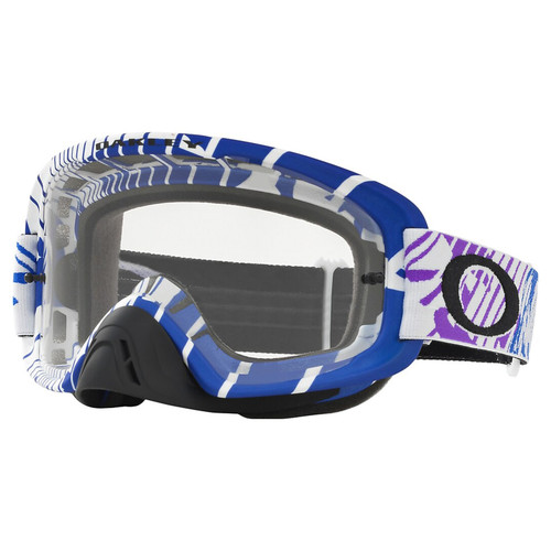 Oakley O2 MX Goggles OO7068-1000 Skull Rushmore Purple/Blue Frame Clear Lens