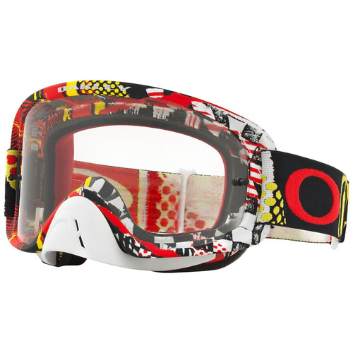 Oakley O2 MX Goggles OO7068-1700 Mosh Pit Red/Yellow Frame Clear Lens