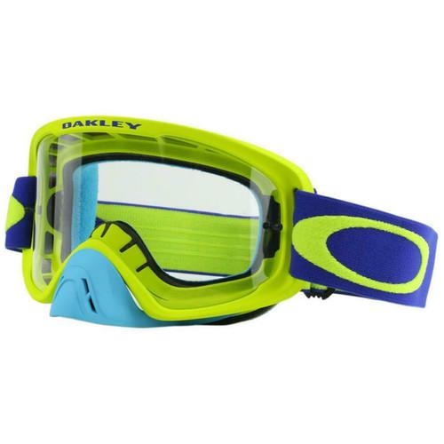 Oakley O Frame 2.0 MX Goggles OO7068-4600 Lime/Blue Frame Dark Grey Lens