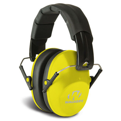 Walkers Pro Low Profile Folding Muff Passive Over Ear Hearing Protection Yellow