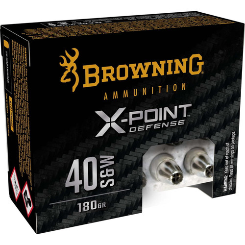 Browning B191700402 X-Point .40 S&W 180GR X-Point Brass Cased Centerfire 20 Rounds