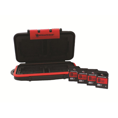 Stealth Cam Memory Card Storage Case with 4pk 8 GB SD Memory Card