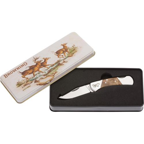 "Browning Vintage Whitetail Tin Folding Knife 2.375"" Drop Point 7Cr15 Satin Blade"