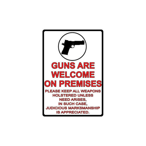 River's Edge 12in.x17in. Weatherpoof Rolled Edge Tin Sign, Guns Are Welcome