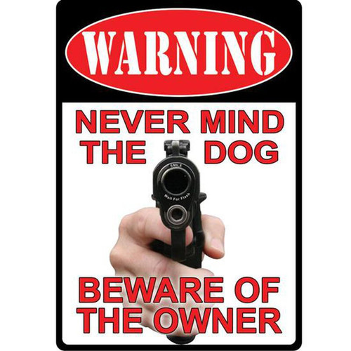 River's Edge 12in.x17in. Weatherpoof Rolled Edge Tin Sign, Never Mind Dog