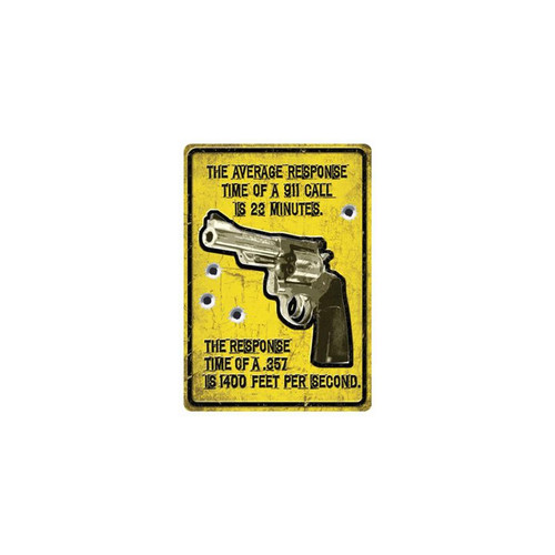 River's Edge 12in.x17in. Weatherpoof Rolled Edge Tin Sign, Average Response Time