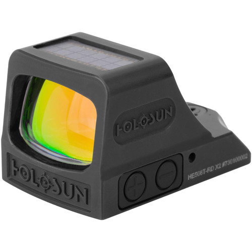 Holosun HE508T-X2 Elite Reflex Sight 1x Selectable Red Reticle Picatinny-Style Mount Solar/Battery Powered Titanium Matte