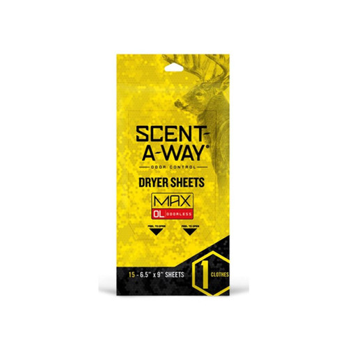 Hunter's Specialties Scent-A-Way MAX Odorless Scent Elimination Dryer Sheets Pack of 15