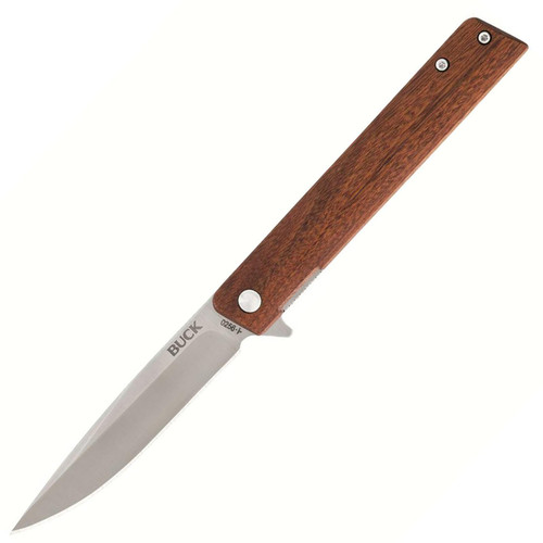 """Buck Knifes 256 Decatur Folding Knife 3.5"""" Drop Point 7Cr17MoV Stainless Satin Blade Wood Handle Brown"""
