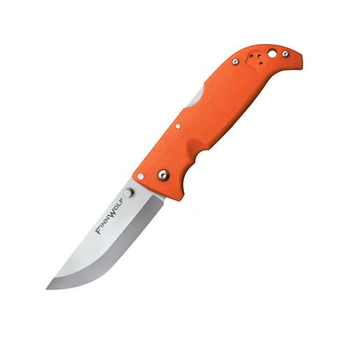 "Cold Steel Finn Wolf Folding Pocket Knife 3.5"" Drop Point AUS 8A Stainless Steel Blade Grivory Handle Blaze Orange"