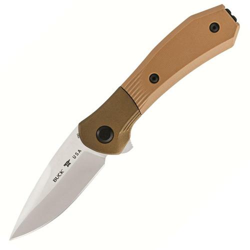 "Buck Knifes 590 Paradigm Folding Knife 3"" Drop Point S35VN Satin Blade G-10 Handle Brown"
