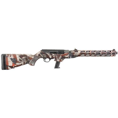 "Ruger PC Carbine 9mm, 16.12"" Threaded Barrel, American Flag, 10rd"