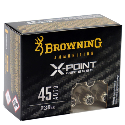Browning X-Point Defense 45 ACP Ammo 230 Grain Jacketed Hollow Point 20 Rounds