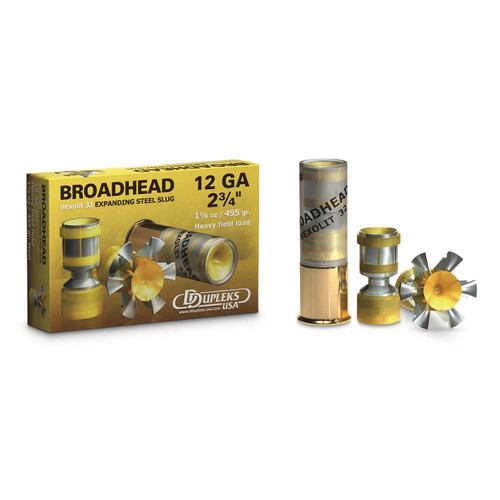 "D Dupleks Broadhead Hexolit 32 Expanding Steel Slug 12 Gauge 2.75"" Shells 5 Rounds"