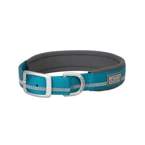 Terrain D.O.G. Reflective Neoprene Lined Dog Collar - Blue Bay/Dark Gray 1 IN X 21 IN