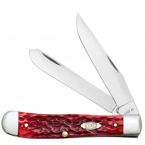 CASE XX Trapper Knife Jigged Dark Red Bone CV Steel 31950