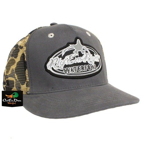 RIG'EM RIGHT WATERFOWL GRAY TRUCKER HAT WITH VINTAGE CAMO MESH