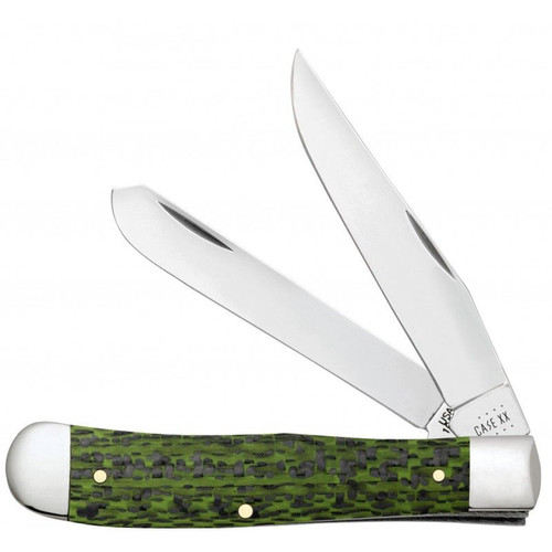 Case XX Green and Black Fiber Weave Trapper Stainless Pocket Knife
