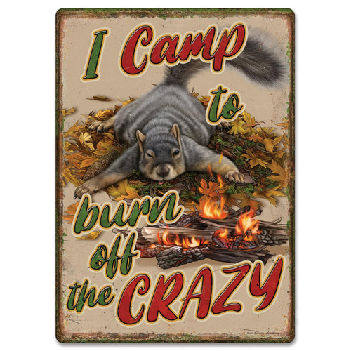 """METAL TIN SIGNS, Funny, Vintage, Personalized 12"""" X 17""""- Burn Crazy"""