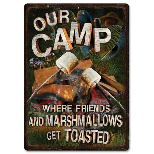 """METAL TIN SIGNS, Funny, Vintage, Personalized 12""""X 17"""" Cowboy Logic Friends Marshmallows"""