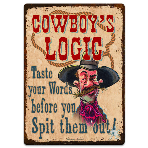 """METAL TIN SIGNS, Funny, Vintage, Personalized 12""""X 17"""" Cowboy Logic"""