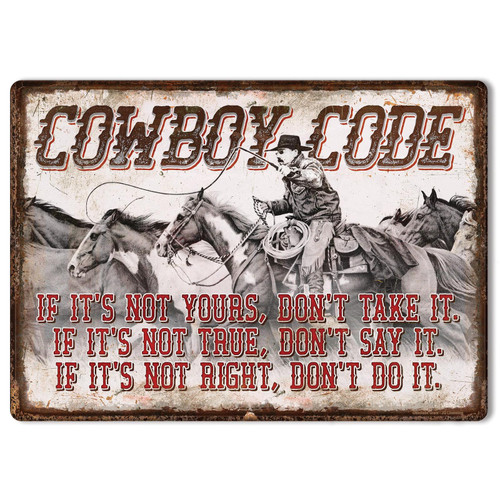 """METAL TIN SIGNS, Funny, Vintage, Personalized 12""""X 17"""" Cowboy Code"""