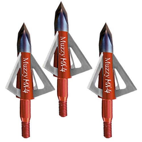 """Muzzy MX4 Broadhead 4 Blades 100 Gr 1.13"""" Diameter Trocar Tip 3 Pk 209MX43"""