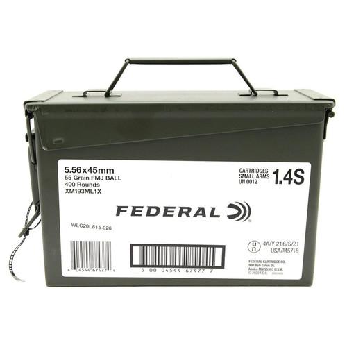 FEDERAL 5.56 AMMO 55 GRAIN FMJ 400 ROUND AMMO CAN - XM193ML1X