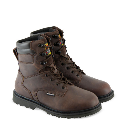 """Thorogood Mens V WP Insulated 8"""" Crazyhorse Brown Boots 864-4281"""