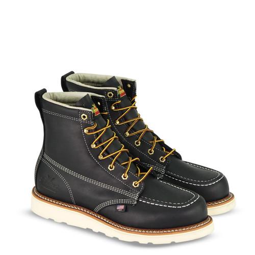 "Thorogood Mens American Heritage 6"" Black MOC Toe MW Wedge Boots 814-6201"