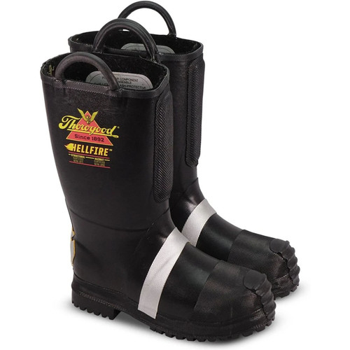 """Thorogood Mens Hellfire 14"""" Insulated Rubber Bunker Black Boots 807-6003"""