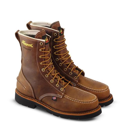 "Thorogood Mens 1957 WP ST 8"" Crazyhorse MOC Toe MW90 Brown Boots 804-3898"