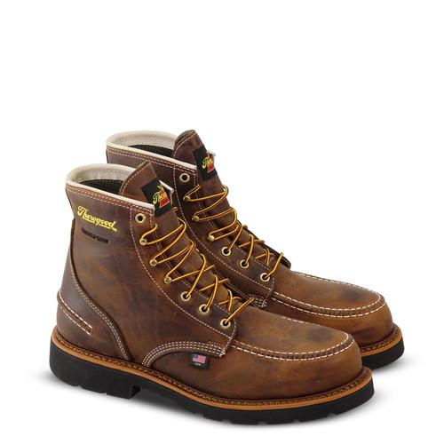 "Thorogood Mens 1957 WP ST 6"" Crazyhorse MOC Toe MW90 Brown Boots 804-3696"