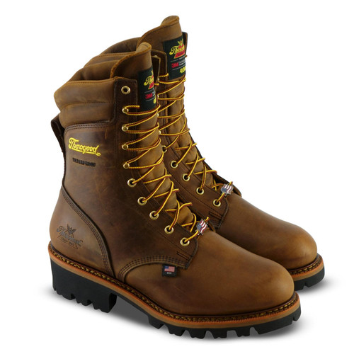 """Thorogood Mens USA Logger 9"""" Trail Crazyhorse INS/WP Brown Boots 804-3554"""