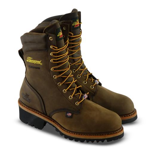 "Thorogood Mens USA Logger 9"" Crazyhorse Waterproof Brown Boots 804-3555"