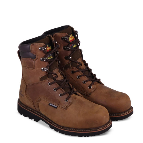 """Thorogood Mens V WP Insulated 8"""" Crazyhorse Safety Toe Brown Boots 804-3238"""