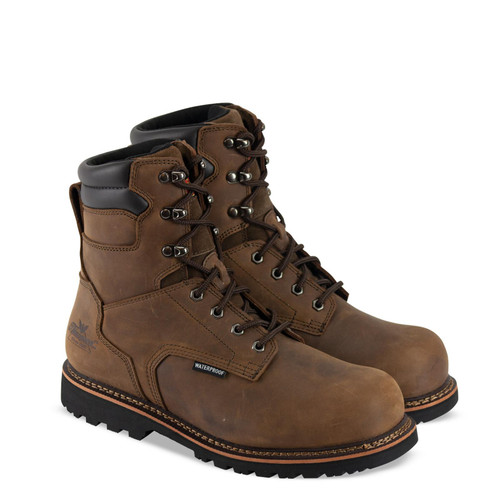 """Thorogood Mens V Waterproof 8"""" Crazyhorse Safety Toe Brown Boots 804-3237"""