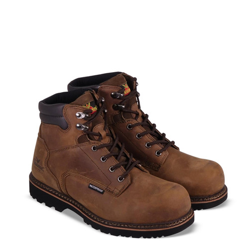 """Thorogood Mens V Waterproof 6"""" Crazyhorse Safety Toe Brown Boots 804-3236"""