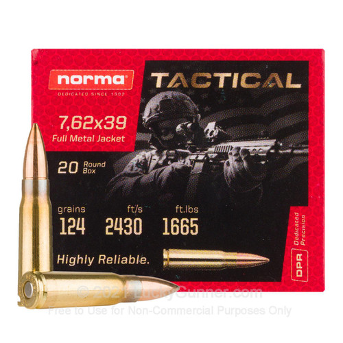 Norma Tactical 7.62x39mm 124GR FMJ Brass Cased Centerfire Rifle 20 Rounds