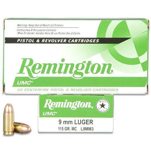 Remington UMC 9mm Luger Ammunition 115 Grain FMJ 50 Rounds